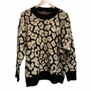 Vince Camuto Fuzzy Soft Leopard Oversized Sweater